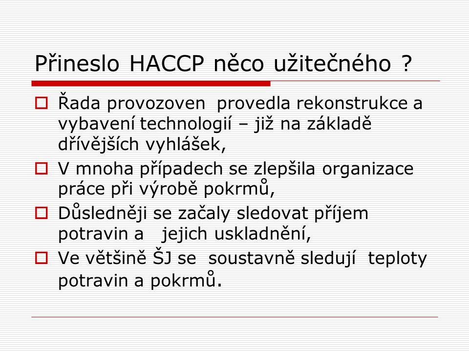 Přineslo HACCP něco užitečného ?  Řada provozoven provedla rekonstrukce a vybavení technologií – již na základě dřívějších vyhlášek,  V mnoha případ