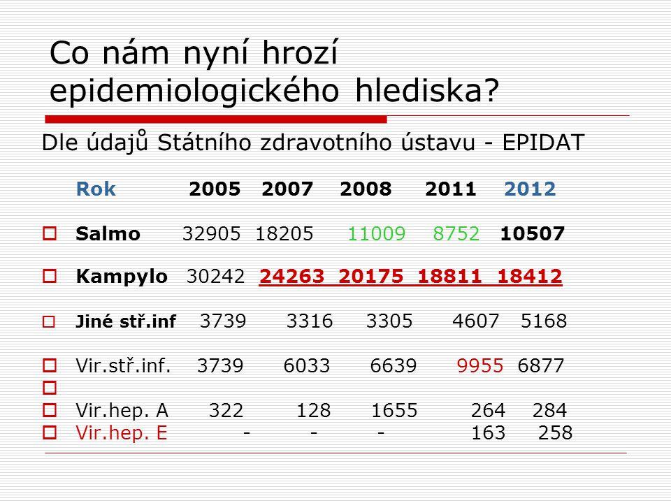 Co nám nyní hrozí epidemiologického hlediska? Dle údajů Státního zdravotního ústavu - EPIDAT Rok 2005 2007 2008 2011 2012  Salmo 32905 18205 11009 87