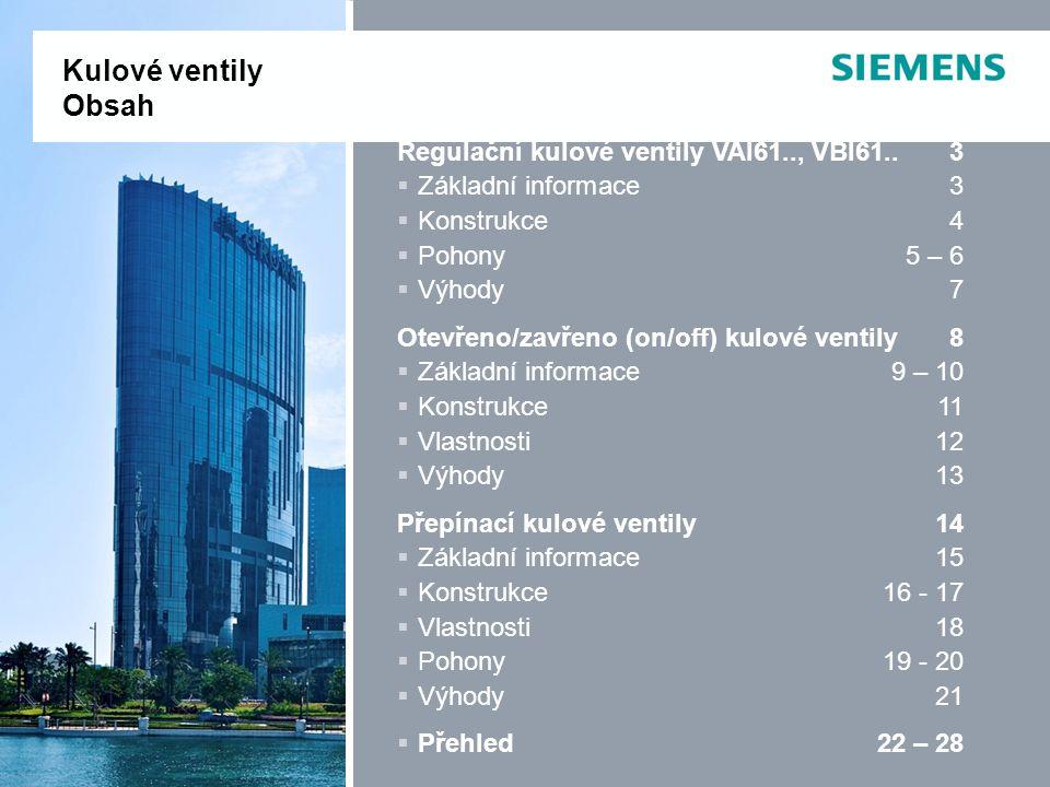 IC BT CPS Regulační kulové ventily VAI61.., VBI61..3  Základní informace3  Konstrukce4  Pohony5 – 6  Výhody7 Otevřeno/zavřeno (on/off) kulové vent