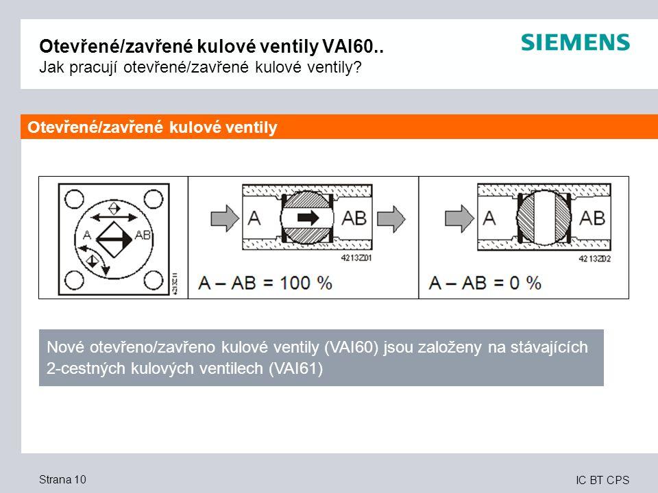 IC BT CPS Strana 10 Otevřené/zavřené kulové ventily VAI60.. Jak pracují otevřené/zavřené kulové ventily? Nové otevřeno/zavřeno kulové ventily (VAI60)