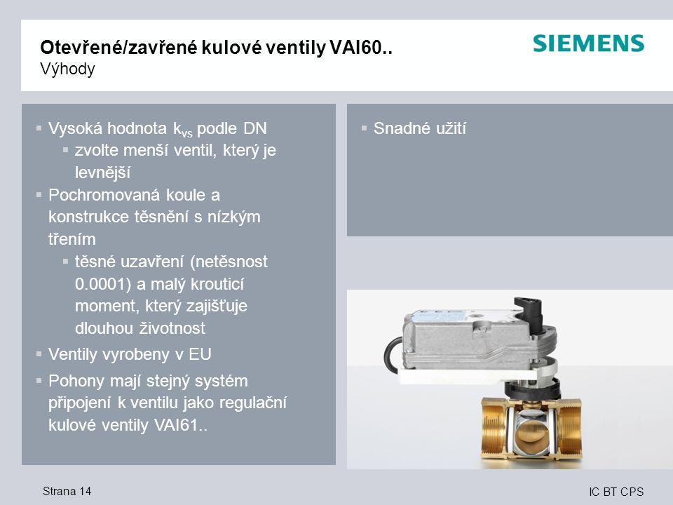 IC BT CPS Strana 14 Otevřené/zavřené kulové ventily VAI60..