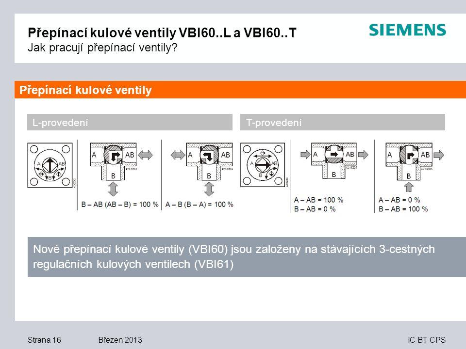 IC BT CPS Březen 2013 Přepínací kulové ventily VBI60..L a VBI60..T Jak pracují přepínací ventily? Strana 16 L-provedeníT-provedení Nové přepínací kulo