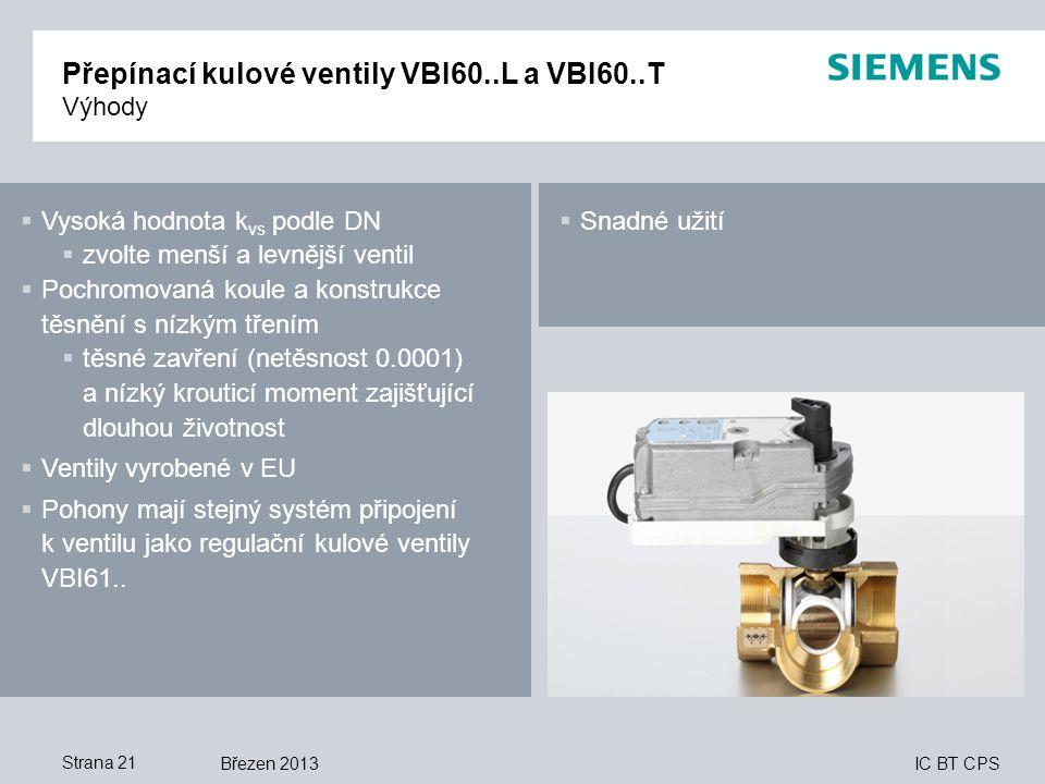 IC BT CPS Březen 2013Strana 21 Přepínací kulové ventily VBI60..L a VBI60..T Výhody  Vysoká hodnota k vs podle DN  zvolte menší a levnější ventil  P