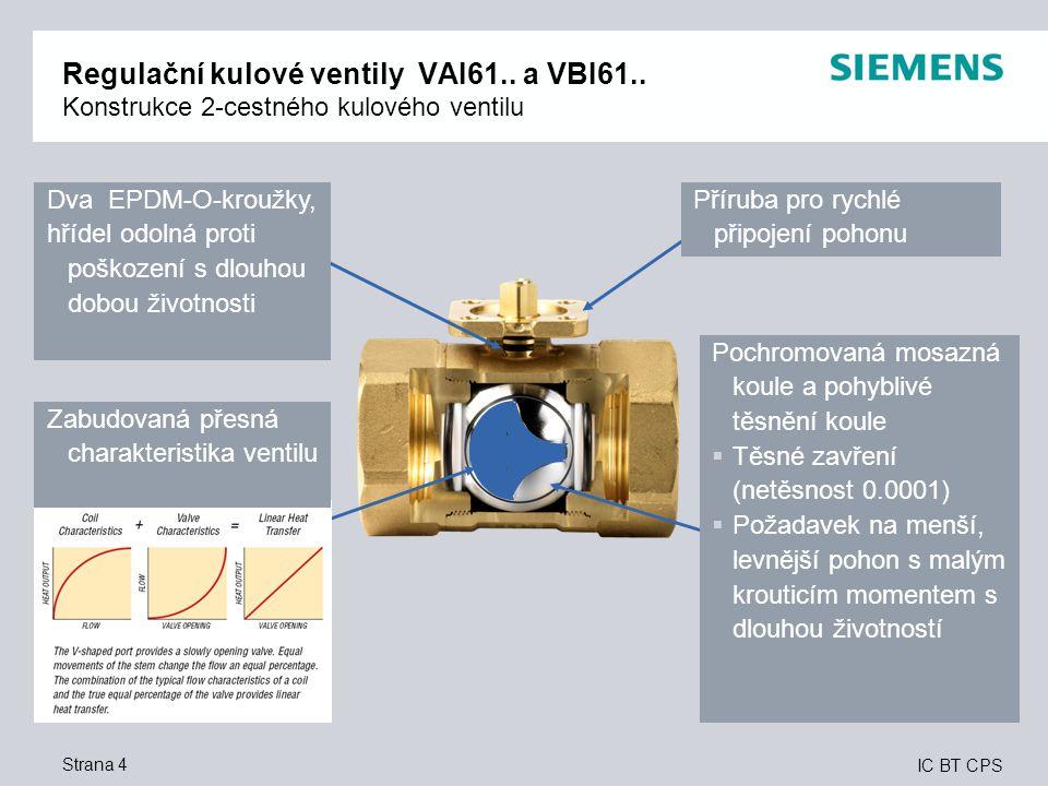 IC BT CPS Strana 4 Regulační kulové ventily VAI61.. a VBI61.. Konstrukce 2-cestného kulového ventilu Dva EPDM-O-kroužky, hřídel odolná proti poškození