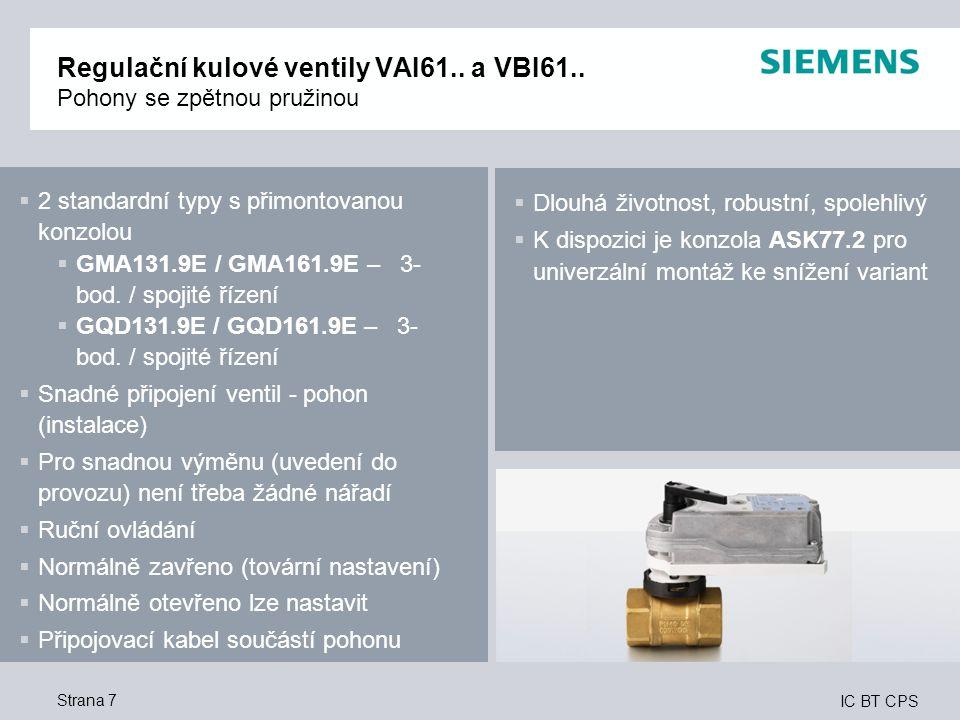 IC BT CPS Strana 7 Regulační kulové ventily VAI61.. a VBI61.. Pohony se zpětnou pružinou  2 standardní typy s přimontovanou konzolou  GMA131.9E / GM