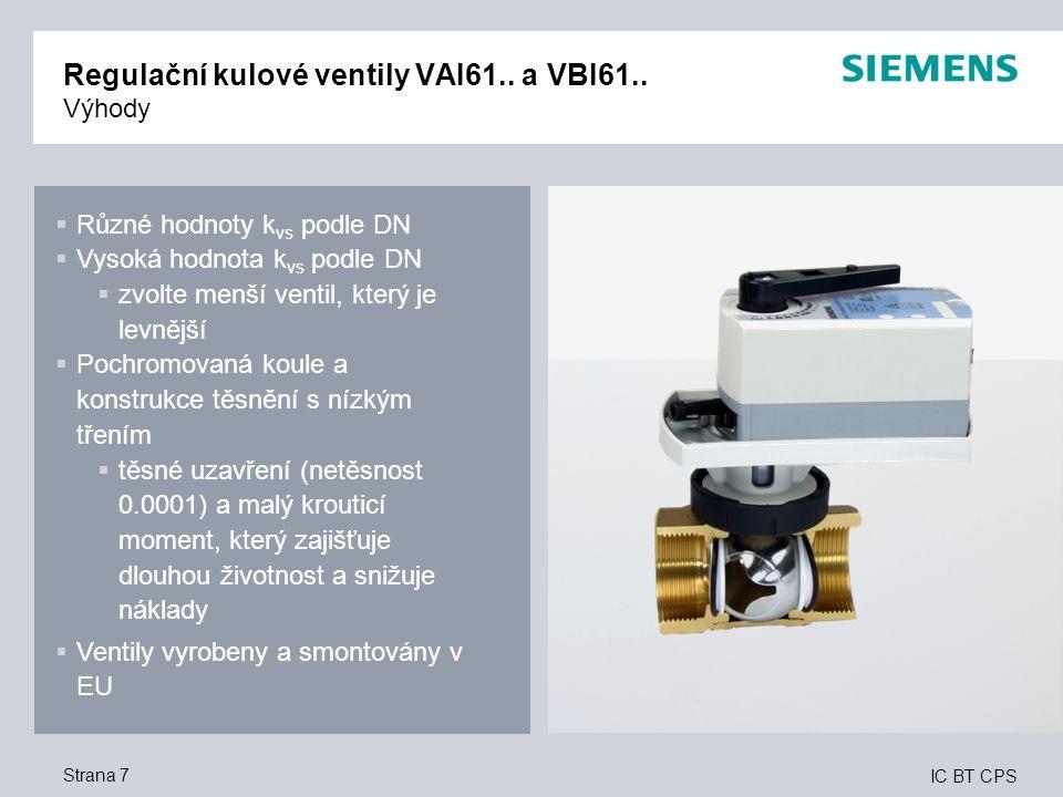 IC BT CPS Strana 7 Regulační kulové ventily VAI61.. a VBI61.. Výhody  Různé hodnoty k vs podle DN  Vysoká hodnota k vs podle DN  zvolte menší venti