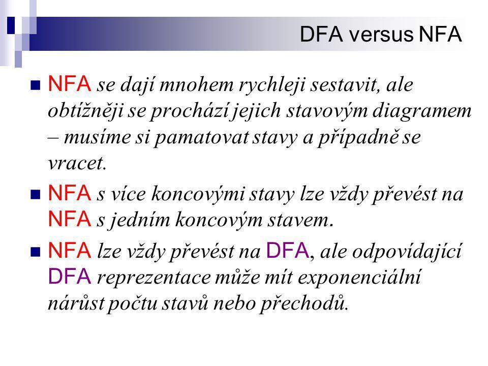 DFA versus NFA  NFA se dají mnohem rychleji sestavit, ale obtížněji se prochází jejich stavovým diagramem – musíme si pamatovat stavy a případně se vracet.