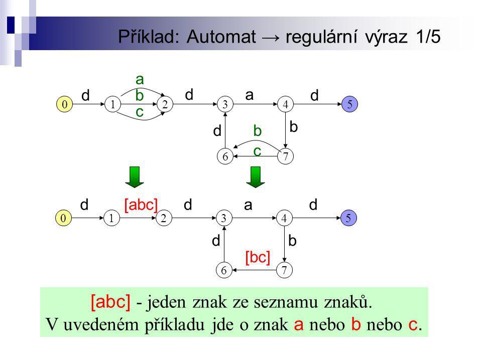 Příklad: Automat → regulární výraz 1/5 a 12345 67 db c d 0 da d b b c 12345 67 d[abc]d 0 da db [bc] [abc] - jeden znak ze seznamu znaků.