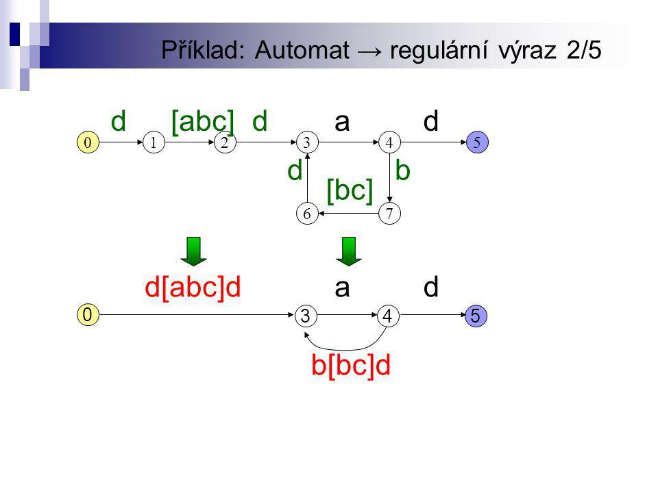 Příklad: Automat → regulární výraz 2/5 12345 67 d[abc]d 0 da db [bc] 345 d[abc]dd 0 a b[bc]d