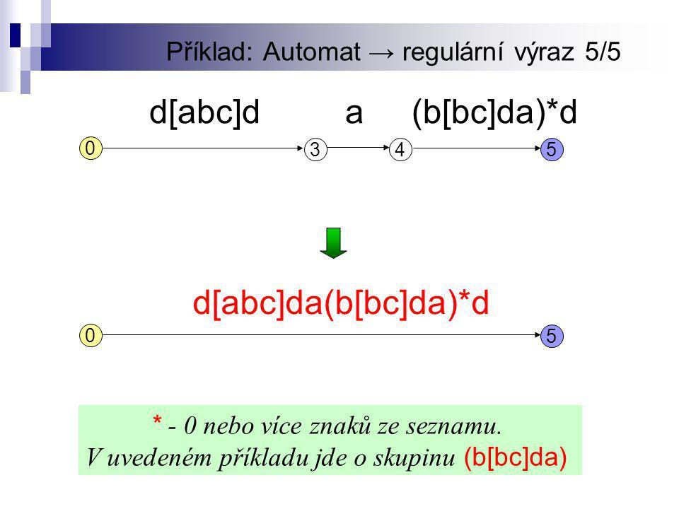 Příklad: Automat → regulární výraz 5/5 5 0 d[abc]da(b[bc]da)*d 345 d[abc]d 0 a(b[bc]da)*d * - 0 nebo více znaků ze seznamu.