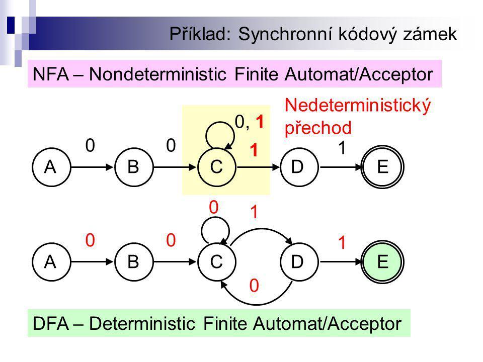Příklad: Synchronní kódový zámek NFA – Nondeterministic Finite Automat/Acceptor DFA – Deterministic Finite Automat/Acceptor 0 1 00 0 1 ABCDE 0, 1 00 1 1 Nedeterministický přechod ABCDE