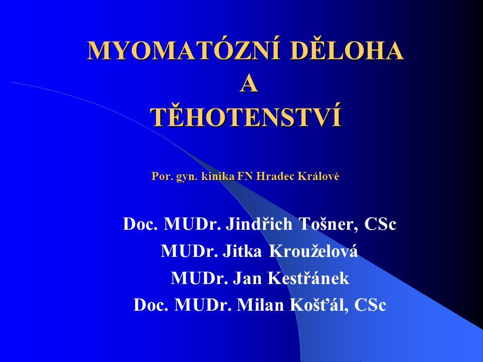MYOMATÓZNÍ DĚLOHA A TĚHOTENSTVÍ Por.gyn. kinika FN Hradec Králové Doc.