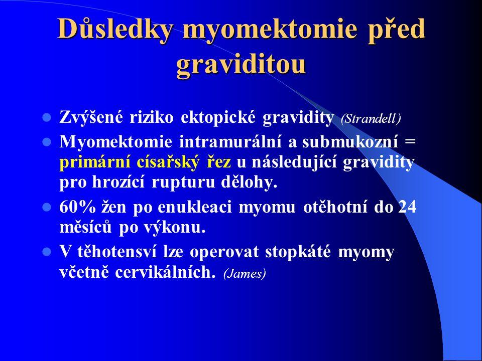 Důsledky myomektomie před graviditou  Zvýšené riziko ektopické gravidity (Strandell )  Myomektomie intramurální a submukozní = primární císařský řez u následující gravidity pro hrozící rupturu dělohy.