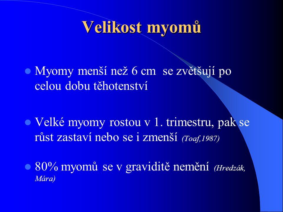 Velikost myomů  Myomy menší než 6 cm se zvětšují po celou dobu těhotenství  Velké myomy rostou v 1.