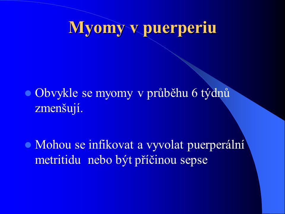 Myomy v puerperiu  Obvykle se myomy v průběhu 6 týdnů zmenšují.