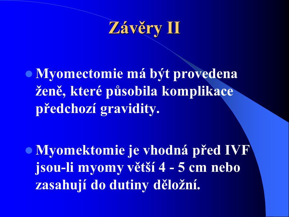 Závěry II  Myomectomie má být provedena ženě, které působila komplikace předchozí gravidity.