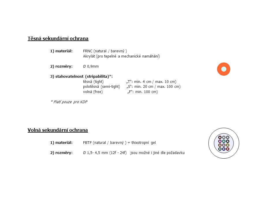 """Těsná sekundární ochrana 1) materiál: FRNC (natural / barevný ) Akrylát (pro tepelné a mechanické namáhání) 2) rozměry: Ø 0,9mm 3) stahovatelnost (stripabilita)*: těsná (tight) """"T : min."""