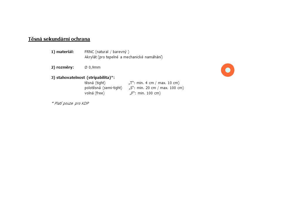 Těsná sekundární ochrana 1) materiál: FRNC (natural / barevný ) Akrylát (pro tepelné a mechanické namáhání) 2) rozměry: Ø 0,9mm 3) stahovatelnost (str