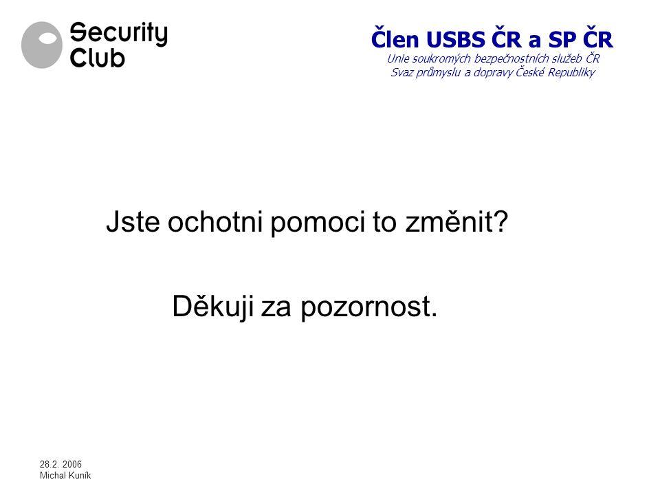 Člen USBS ČR a SP ČR Unie soukromých bezpečnostních služeb ČR Svaz průmyslu a dopravy České Republiky 28.2.