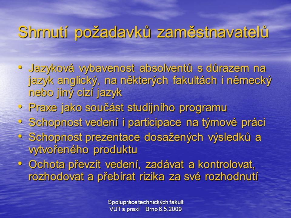 Spolupráce technických fakult VUT s praxí Brno 6.5.2009 Shrnutí požadavků zaměstnavatelů • Jazyková vybavenost absolventů s důrazem na jazyk anglický,