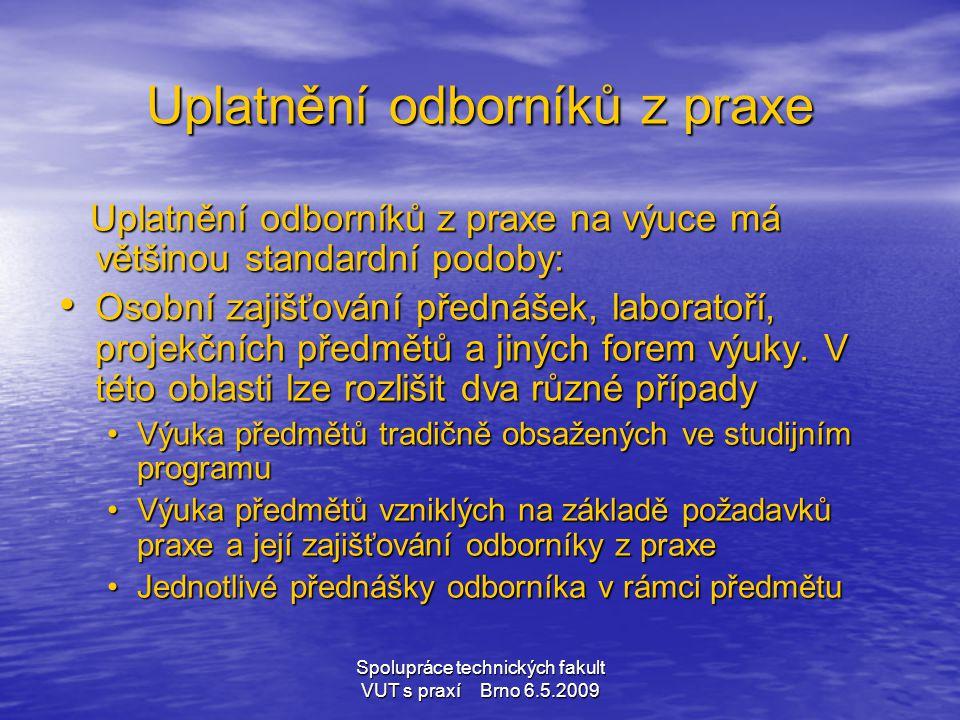 Spolupráce technických fakult VUT s praxí Brno 6.5.2009 Uplatnění odborníků z praxe Uplatnění odborníků z praxe na výuce má většinou standardní podoby