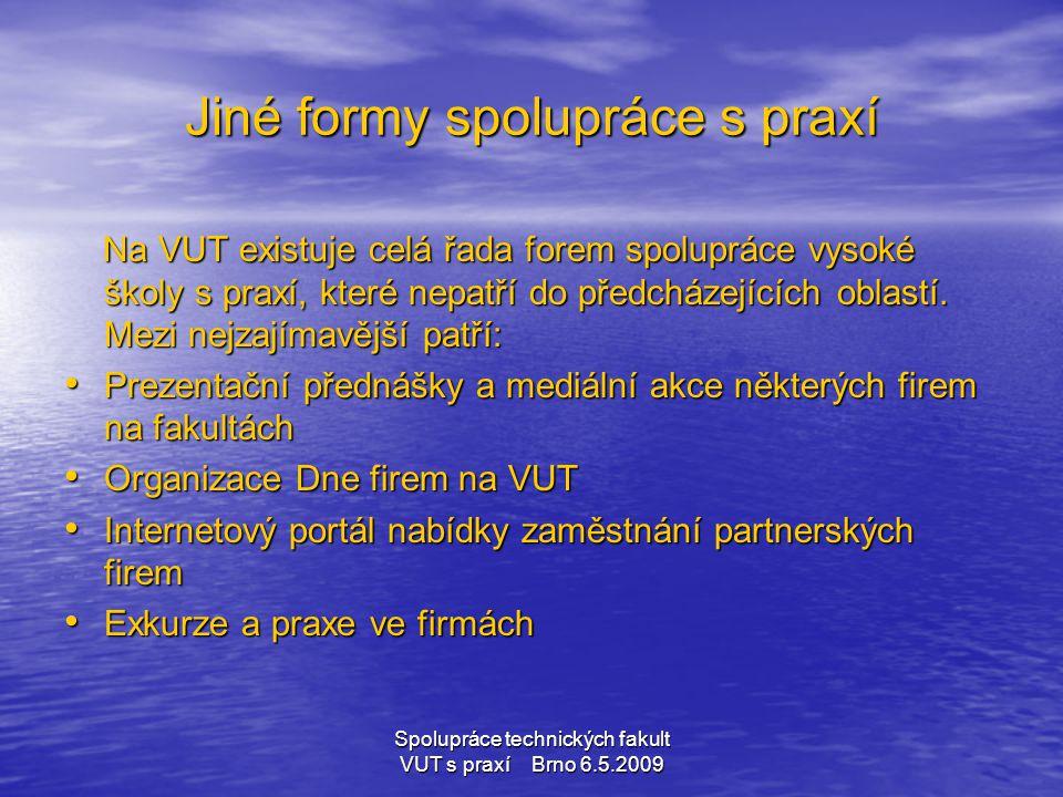 Spolupráce technických fakult VUT s praxí Brno 6.5.2009 Jiné formy spolupráce s praxí Na VUT existuje celá řada forem spolupráce vysoké školy s praxí,