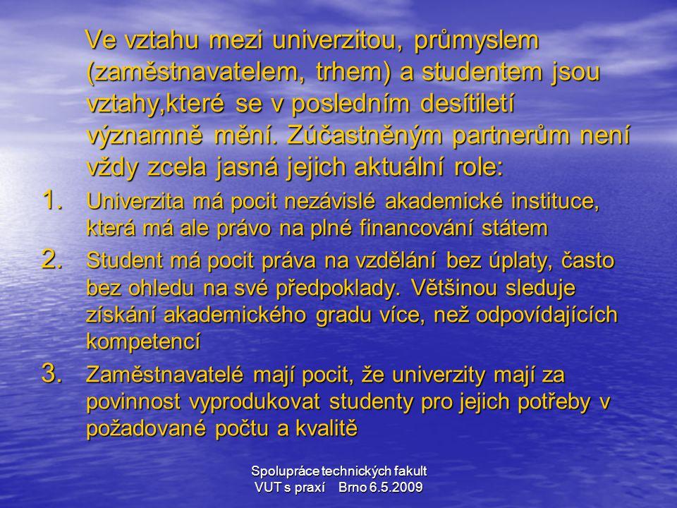 Spolupráce technických fakult VUT s praxí Brno 6.5.2009 Ve vztahu mezi univerzitou, průmyslem (zaměstnavatelem, trhem) a studentem jsou vztahy,které s