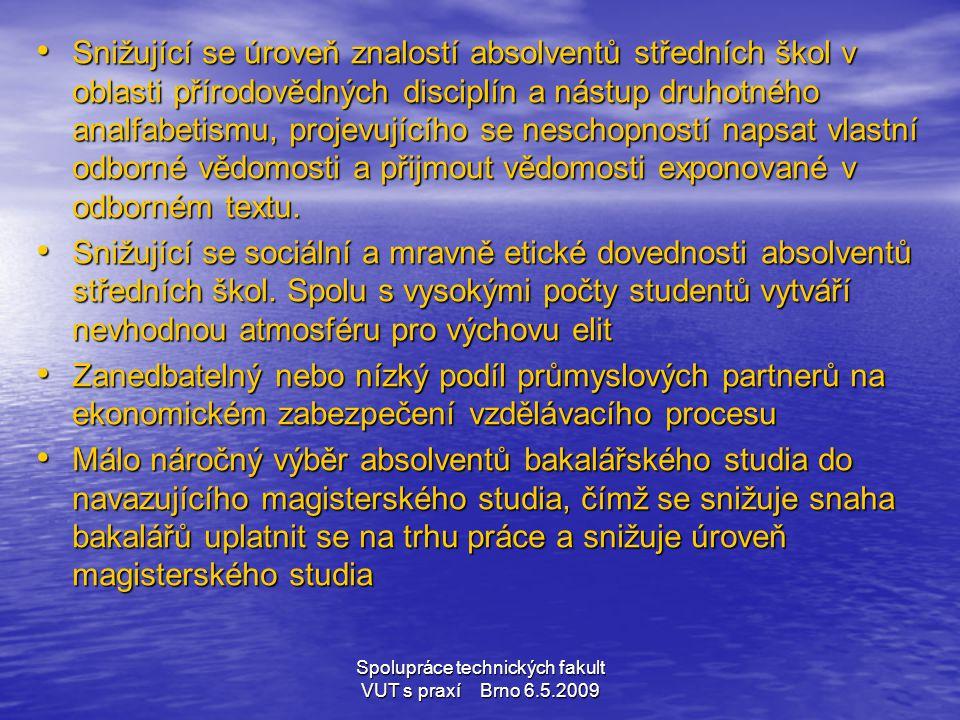 Spolupráce technických fakult VUT s praxí Brno 6.5.2009 • Snižující se úroveň znalostí absolventů středních škol v oblasti přírodovědných disciplín a