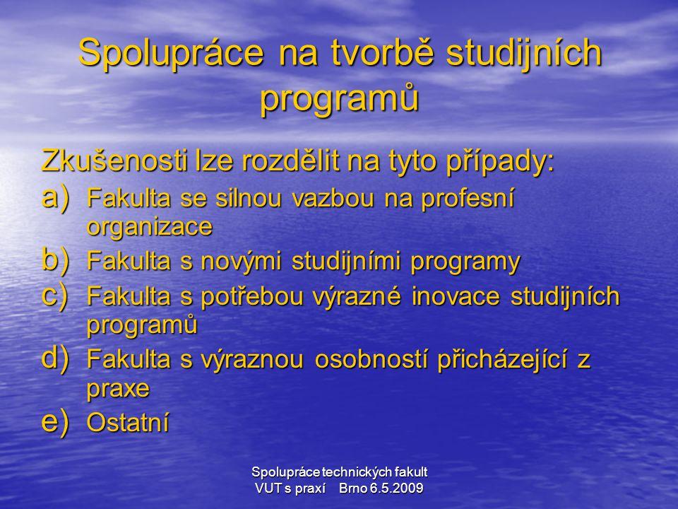 Spolupráce technických fakult VUT s praxí Brno 6.5.2009 Spolupráce na tvorbě studijních programů Zkušenosti lze rozdělit na tyto případy: a) Fakulta s