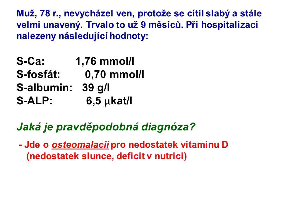 Pacient s chronickou renální nedostatečností má následující testy: S-Na: 141 mmol/l S- K: 5,7 mmol/l S-Cl : 107 mmol/l P-hydrogenkarbonát: 14 mmol/l S-urea : 46 mmol/l S-kreatinin: 495  mol/l Vysvětlete výsledky - snížený hydrogenkarbonát pro metabolickou acidózu (retence sulfátů a fosfátů, snížená exkrece H + a snížená reabsorpce HCO 3 - ) - hyperkalemie pro retenci (pacient by měl už být dialyzován)