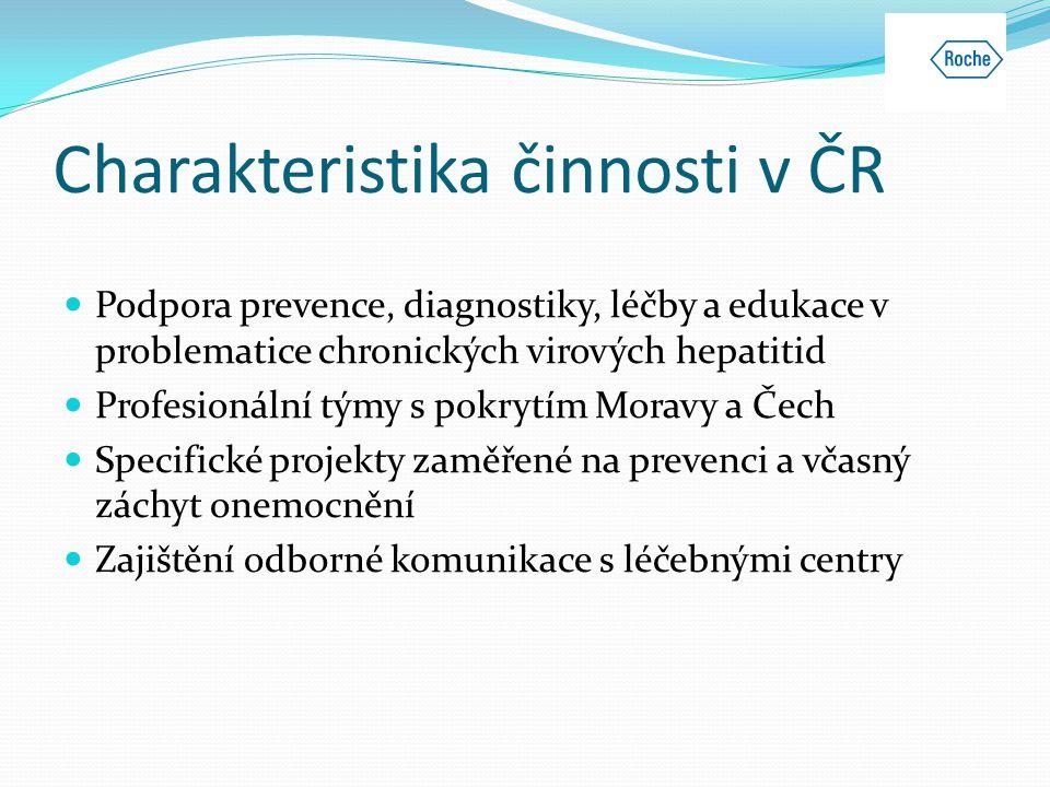 Charakteristika činnosti v ČR  Podpora prevence, diagnostiky, léčby a edukace v problematice chronických virových hepatitid  Profesionální týmy s po