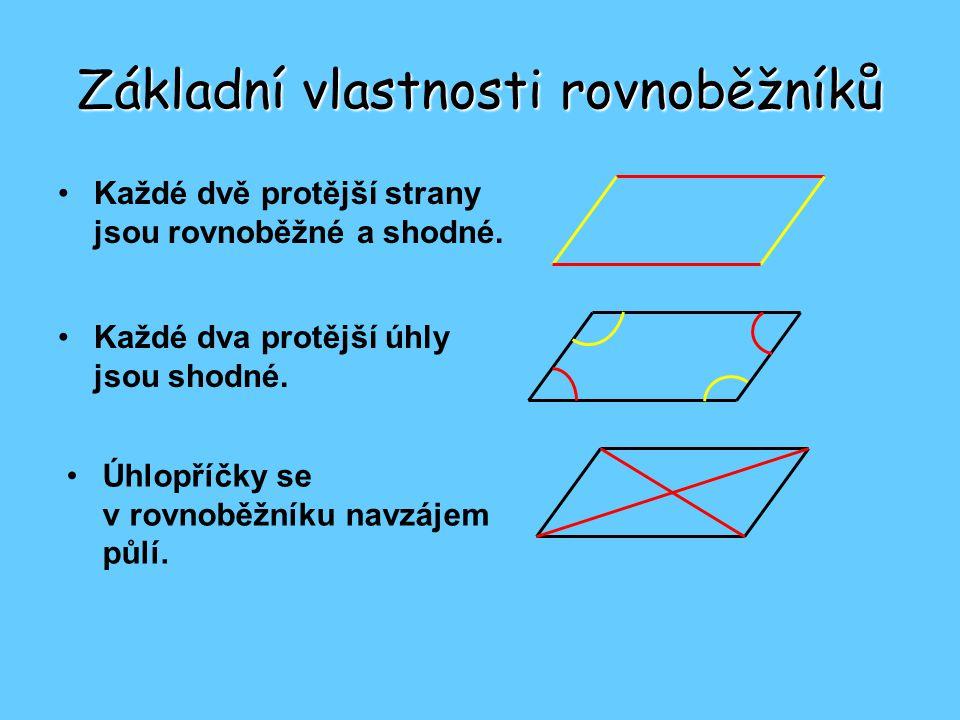 Základní vlastnosti rovnoběžníků •Každé dvě protější strany jsou rovnoběžné a shodné.