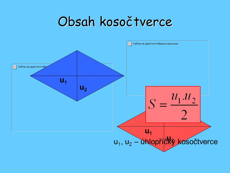 Obsah kosočtverce u1u1 u2u2 u1u1 u2u2 u 1, u 2 – úhlopříčky kosočtverce