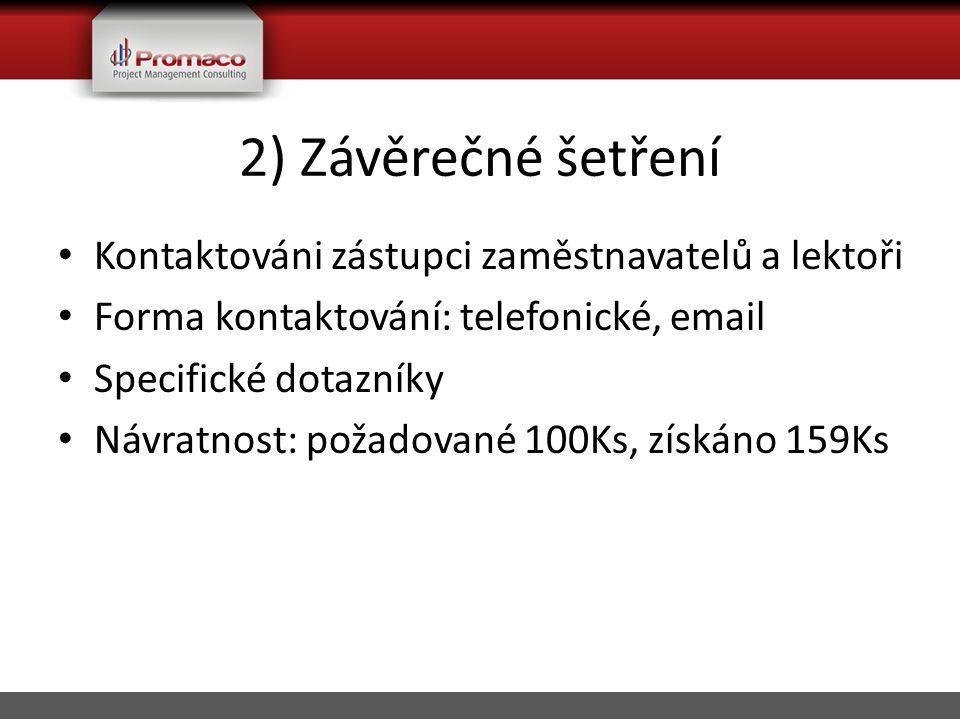 2) Závěrečné šetření • Kontaktováni zástupci zaměstnavatelů a lektoři • Forma kontaktování: telefonické, email • Specifické dotazníky • Návratnost: požadované 100Ks, získáno 159Ks