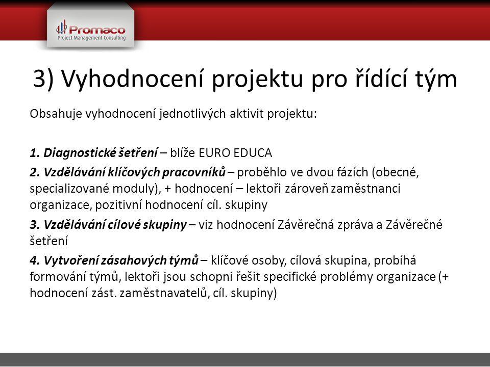 3) Vyhodnocení projektu pro řídící tým Obsahuje vyhodnocení jednotlivých aktivit projektu: 1.