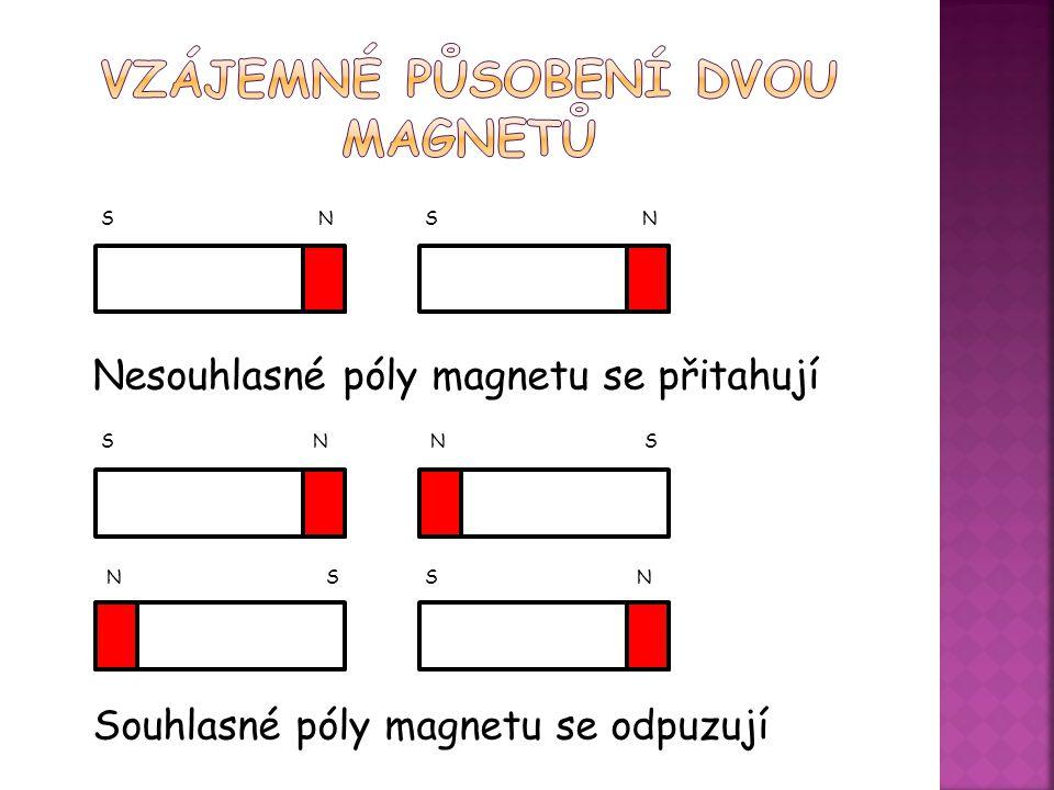 S N S N Nesouhlasné póly magnetu se přitahují S N N S N S S N Souhlasné póly magnetu se odpuzují