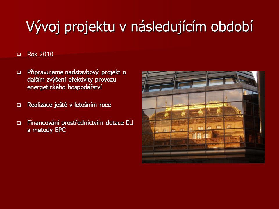Vývoj projektu v následujícím období   Rok 2010  Připravujeme nadstavbový projekt o dalším zvýšení efektivity provozu energetického hospodářství 