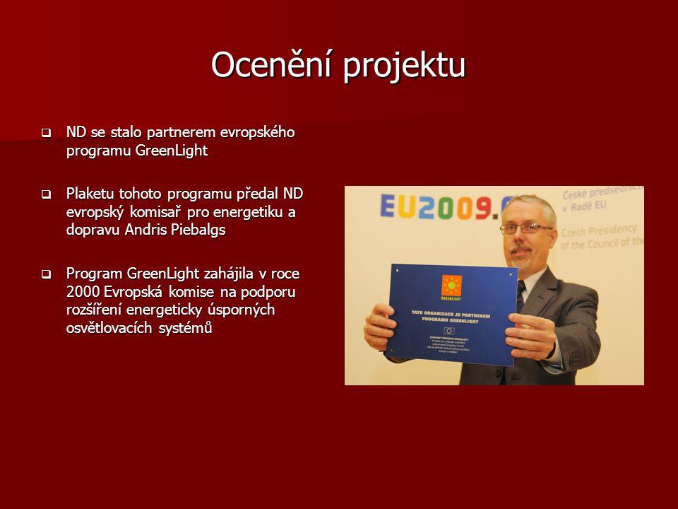 Ocenění projektu  ND se stalo partnerem evropského programu GreenLight  Plaketu tohoto programu předal ND evropský komisař pro energetiku a dopravu