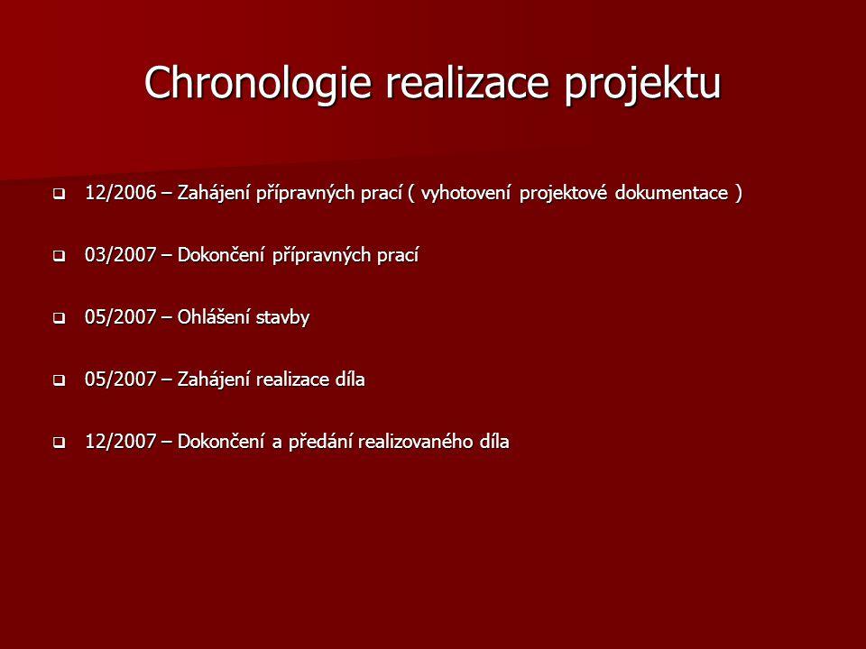 Chronologie realizace projektu  12/2006 – Zahájení přípravných prací ( vyhotovení projektové dokumentace )  03/2007 – Dokončení přípravných prací 