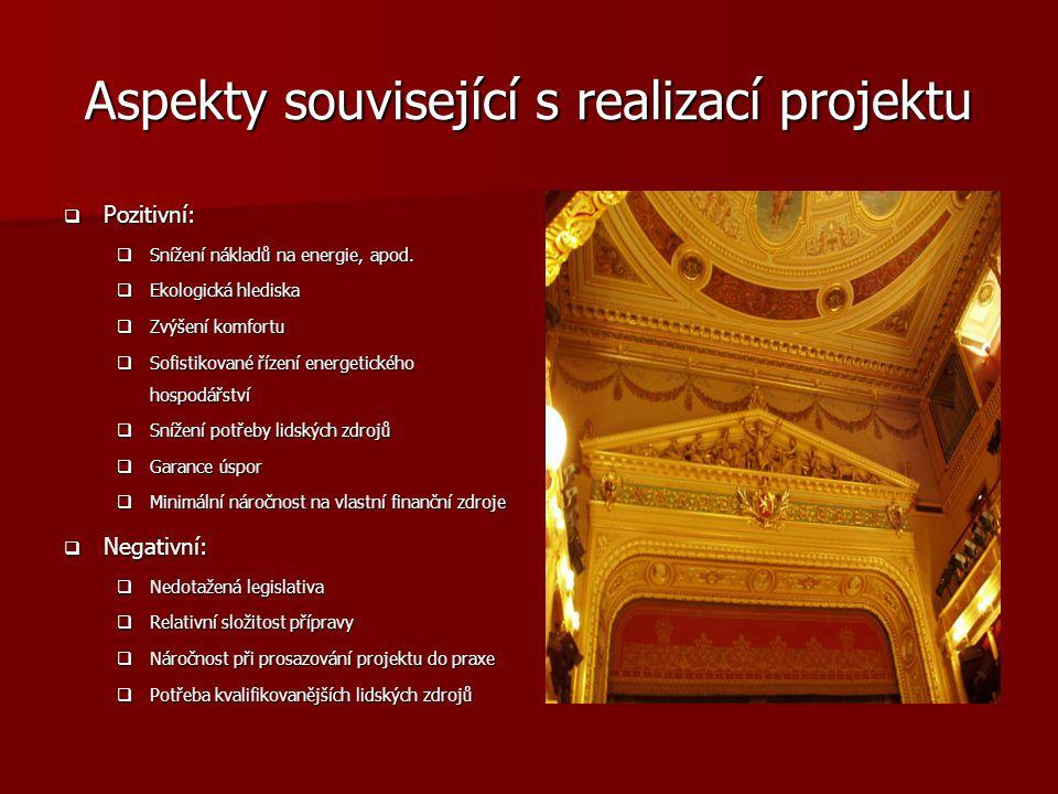 Aspekty související s realizací projektu  Pozitivní:  Snížení nákladů na energie, apod.  Ekologická hlediska  Zvýšení komfortu  Sofistikované říz