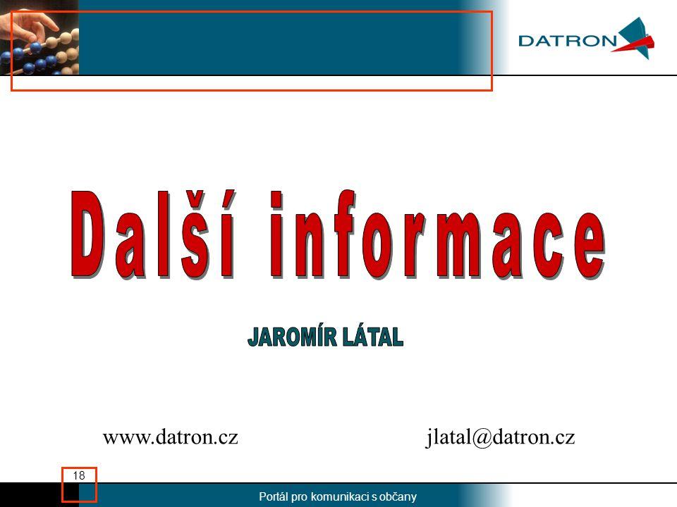 Nadpis Portál pro komunikaci s občany 18 jlatal@datron.czwww.datron.cz