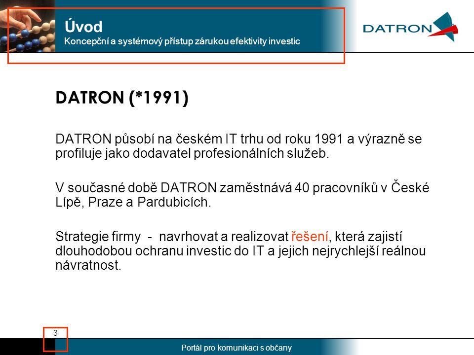 Nadpis Portál pro komunikaci s občany 3 DATRON (*1991) DATRON působí na českém IT trhu od roku 1991 a výrazně se profiluje jako dodavatel profesionálních služeb.
