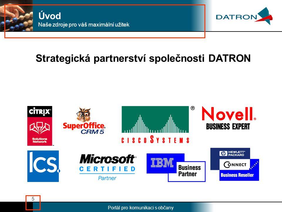 Nadpis Portál pro komunikaci s občany 5 Strategická partnerství společnosti DATRON Naše zdroje pro váš maximální užitek Úvod