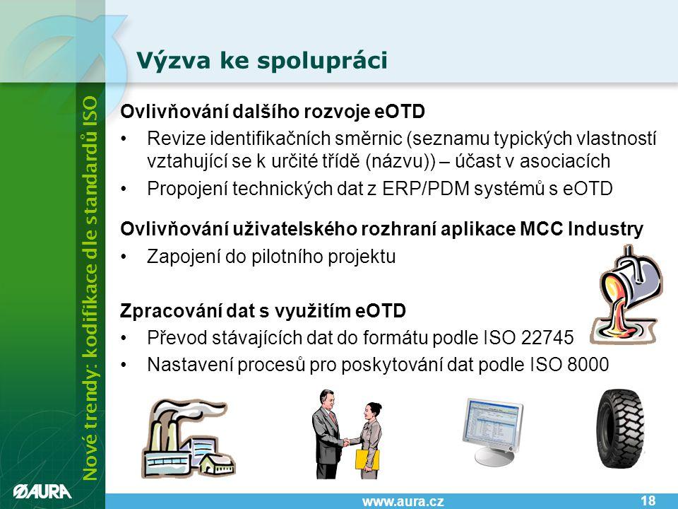 Nové trendy: kodifikace dle standardů ISO www.aura.cz Výzva ke spolupráci 18 Ovlivňování dalšího rozvoje eOTD •Revize identifikačních směrnic (seznamu typických vlastností vztahující se k určité třídě (názvu)) – účast v asociacích •Propojení technických dat z ERP/PDM systémů s eOTD Ovlivňování uživatelského rozhraní aplikace MCC Industry •Zapojení do pilotního projektu Zpracování dat s využitím eOTD •Převod stávajících dat do formátu podle ISO 22745 •Nastavení procesů pro poskytování dat podle ISO 8000