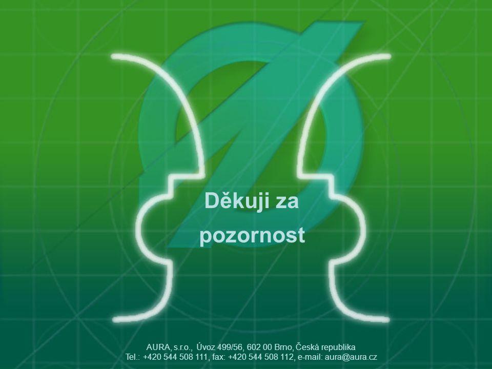 Děkuji za pozornost AURA, s.r.o., Úvoz 499/56, 602 00 Brno, Česká republika Tel.: +420 544 508 111, fax: +420 544 508 112, e-mail: aura@aura.cz