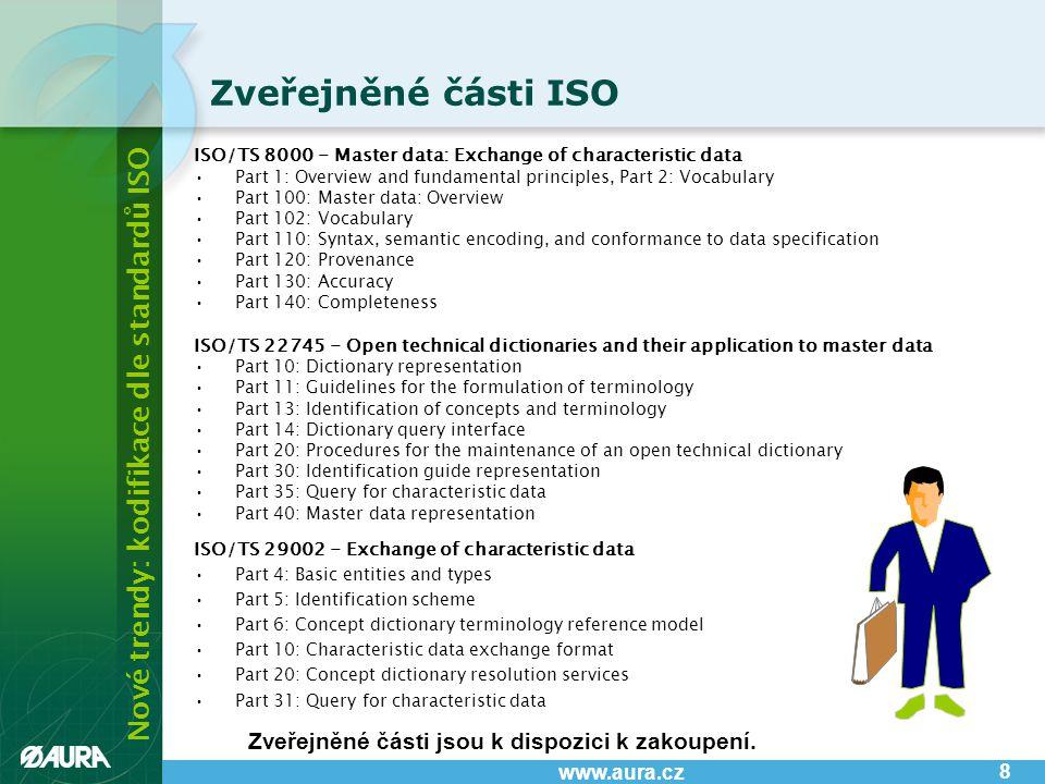 Nové trendy: kodifikace dle standardů ISO www.aura.cz Typy certifikací: •Quality Master Data Provider Certification (pro dodavatele a výrobce) - prověřuje schopnost organizace: –vytvářet a zpracovávat dotazy ve formátu eOTD-q-XML –zasílat data ve formátu eOTD-r-XML •Master Data Quality Manager Certification - prověřuje schopnost organizace: Certifikace na ISO 8000-110 9 –vytvářet a zpracovávat Identifikační směrnice ve formátu eOTD-i-XML –vytvářet a zpracovávat dotazy v OTD-q-XML –zpracovávat a zasílat data v eOTD-r-XML AURA nabízí: •uspořádání certifikačního semináře •vyškolení pracovníků •provedení samotné certifikace