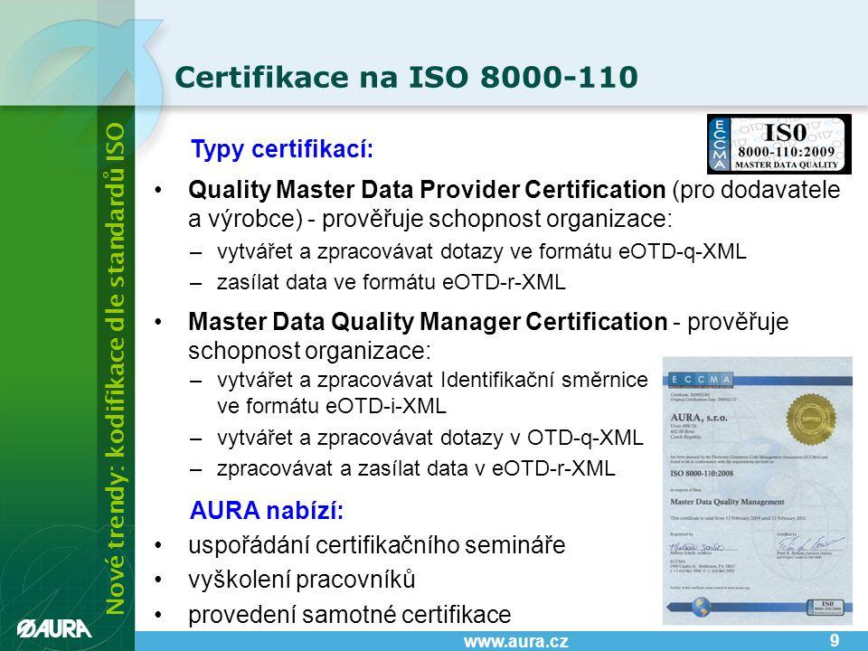 Nové trendy: kodifikace dle standardů ISO www.aura.cz Struktura eOTD 10 Klasifikace Identification Guides - šablony ISO 22745-30 Unit of measure - jednotka Qualifiers - kvalifikátor UNSPSC Currencies - měna • šroub metrický • těsnění pístové Class - název • materiál • tvar hlavy Property - vlastnost CPV CPC eCl@ss FSC/NSC • stříbro, měď • čtverec, hexagon Controlled value - hodnoty ISO 13584-501 ISO 13584-511 RDLs eCl@ss