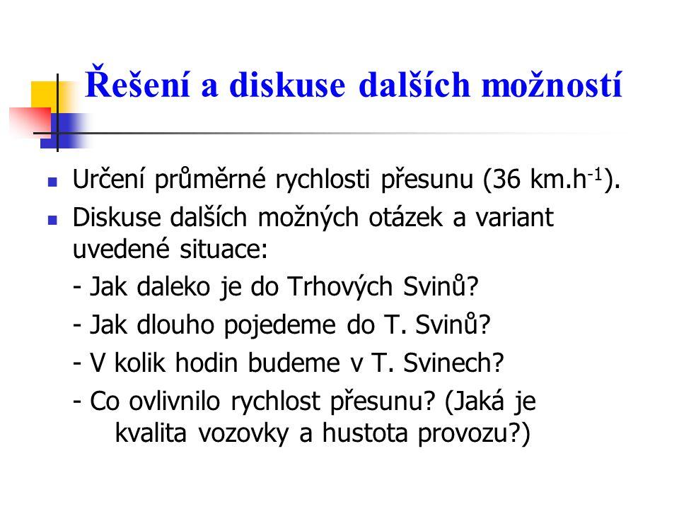 Řešení a diskuse dalších možností  Určení průměrné rychlosti přesunu (36 km.h -1 ).