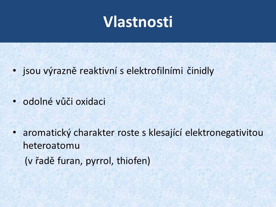 Vlastnosti • jsou výrazně reaktivní s elektrofilními činidly • odolné vůči oxidaci • aromatický charakter roste s klesající elektronegativitou heteroa
