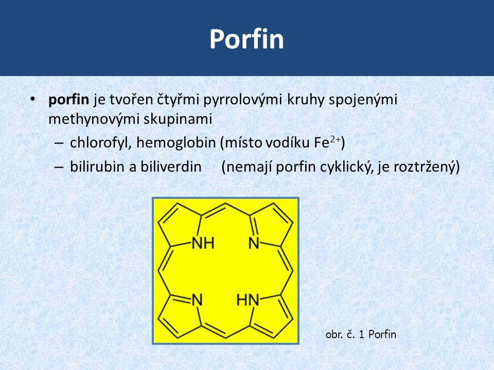 Porfin • porfin je tvořen čtyřmi pyrrolovými kruhy spojenými methynovými skupinami – chlorofyl, hemoglobin (místo vodíku Fe 2+ ) – bilirubin a biliver